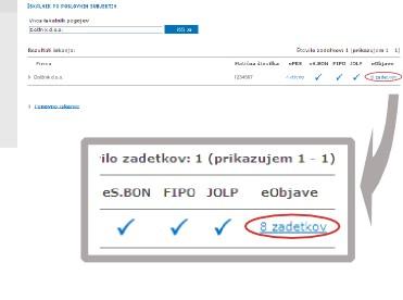Kliknite na število zadetkov pod e-objave