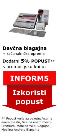 promo koda INFORM5 - 5% dodatni popust - Birokrat davčna blagajna z računalniško opremo