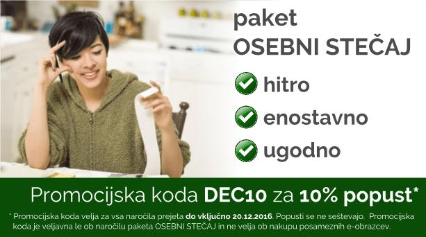 Paket OSEBNI STEČAJ. S promocijsko kodo DEC10, še 10% ugodnejši. Koda velja do 20.12.2016.