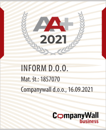 Podjetje Inform d.o.o. se ponaša z eno najvišjih bonitetnih ocen.