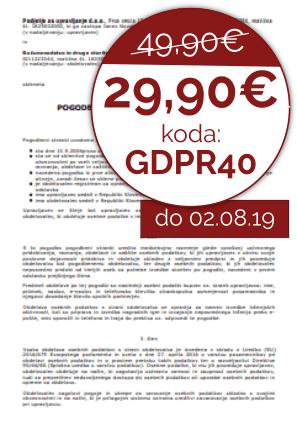 Pogodba o obdelavi in varstvu osebnih podatkov po GDPR