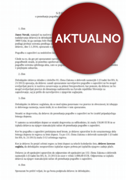Sporazum o prekinitvi pogodbe o zaposlitvi zaradi upokojitve delavca