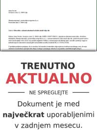 Izjava (obvestilo) delavca o zadržanosti od dela zaradi višje sile