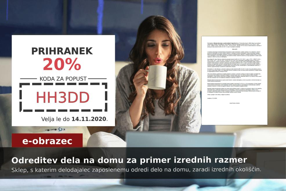 Izkoristite kodo za 20% popust pri pripravi dokumenta Odreditev dela na domu za primer izrednih razmer