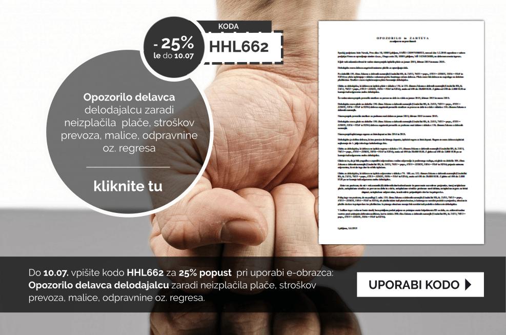 Izkoristite kodo za 25% popust pri pripravi dokumenta: Opozorilo delavca delodajalcu zaradi neizplačila plače, stroškov prevoza, malice, odpravnine oz. regresa