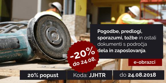 S kodo JJHTR do 24.08.2018 izkoristite 20% popust v rubriki Delo in zaposlovanje!