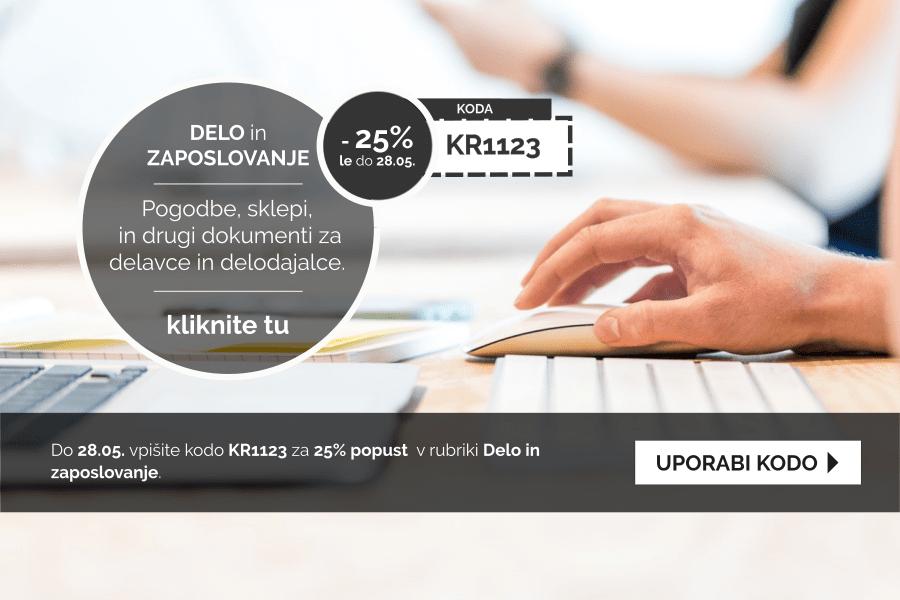 Izkoristite kodo za 25% popust pri pripravi dokumentov v rubriki Delo in Zaposlovanje