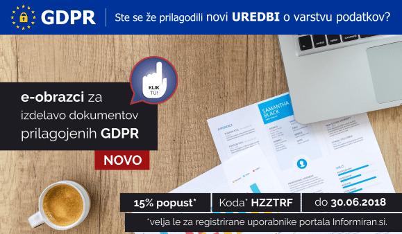 GDPR - Ste se že prilagodili novi UREDBI? Koda HZZTRF za 15% popust do 30.06.2018. Velja za registrirane uporabnike.